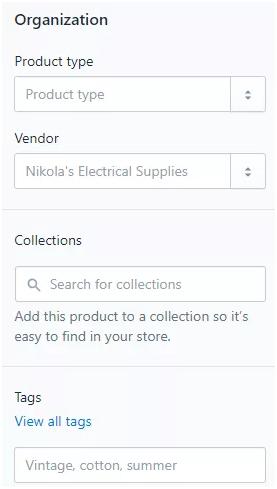 shopify organization page