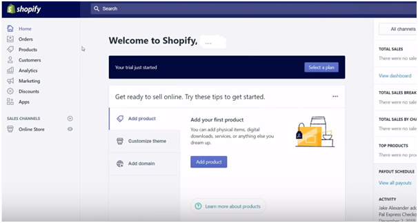 welcome to shopify screen