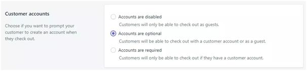 shopify customer accounts