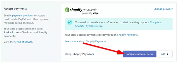 shopify complete payments