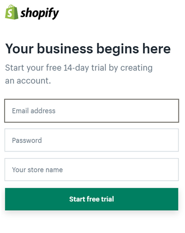 shopify 14 day trial