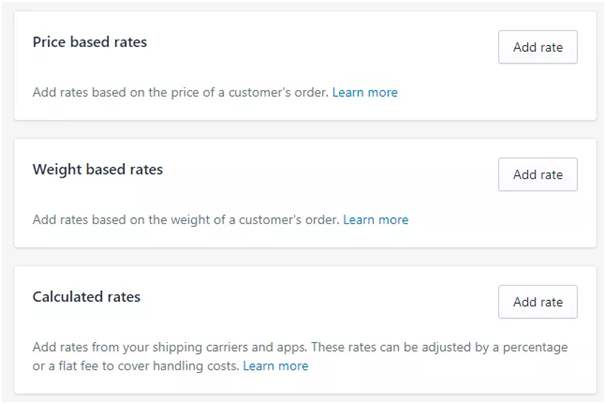 shopify price based rates