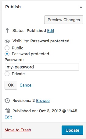 publish a password protected post