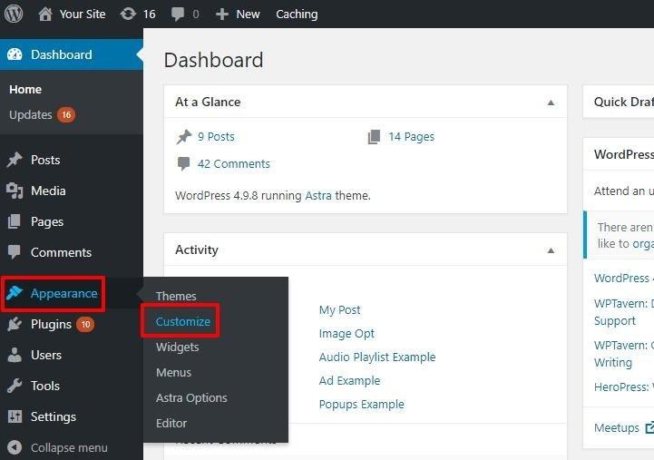 wordpress dashboard customize