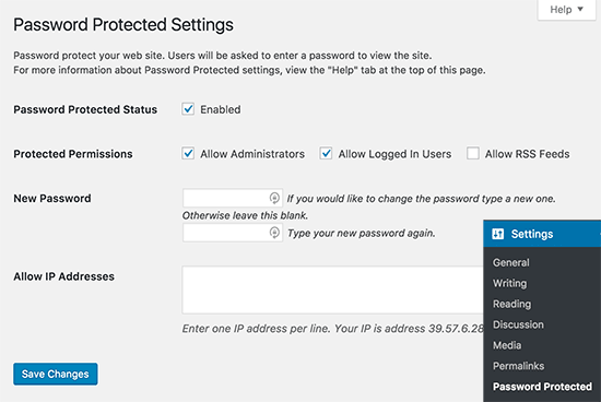 password protected settings
