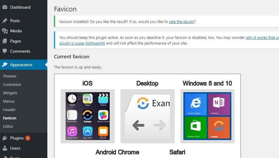 wordpress favicon dashboard